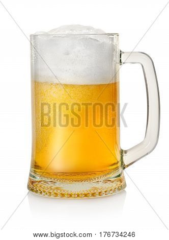 Mug with beer isolated on a white background