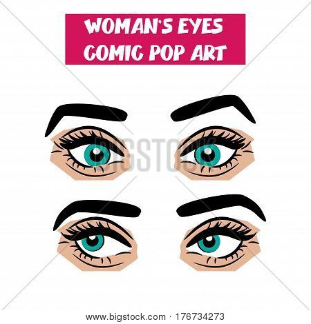 Beautiful sexy girl blue eyes with long eyelashes, eyebrows. Emotional look style pop art. Comic book retro white background. Vector woman comic cartoon illustration. Body part.