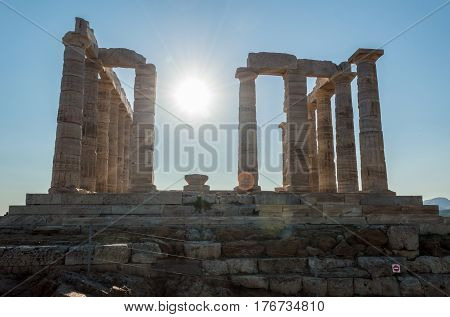 Ruins of an ancient temple of Neptune in Greece