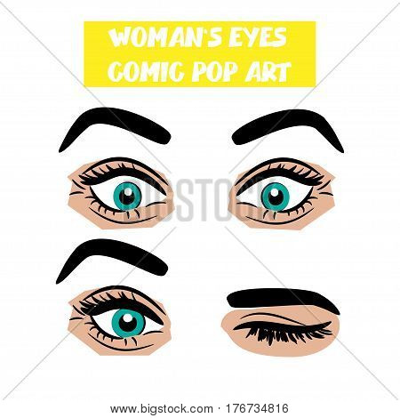 Beautiful sexy girl blue surprise, wink eyes with long eyelashes, eyebrows. Emotional look style pop art. Comic book retro white background. Vector comic woman cartoon illustration. Body part.