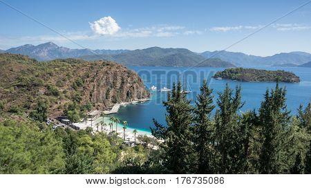 Marmaris, Turkey - October 6, 2016: A panoramic landscape in Marmaris region of Aegean coast