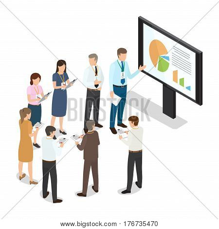 Managers with folders standing in circle and writing notes on paper. Managing director near monitor with schedule speak reports. Vector illustration in flat cartoon style. Business coaching concept