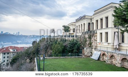 Istanbul, Turkey - March 2, 2017: Adile Sultan palace in Kandilli, Istanbul. Adile Sultan Palace is the former royal residence of Ottoman princess Adile Sultan