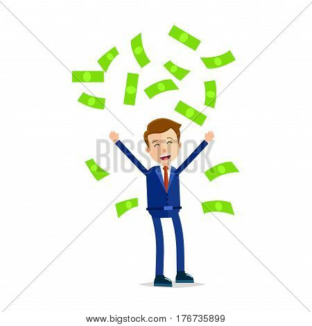 Manager throwing money above head and screaming of delight isolated on white. Man in blue suit with red tie makes rain from green dollar banknotes vector illustration in cartoon style flat design