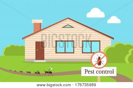 Pest control concept with cockroach leaving house. Vector illustration in flat style of isolated residential building and path near with line of cockroaches going away and warning round sign