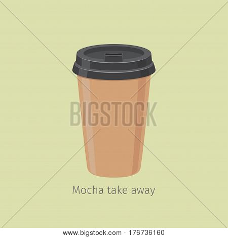 Mocha coffee in closed paper cup for take away on yellowish background with sign. Kind of Arabica coffee. Take away hot drink icon. Minimalist isolated vector illustration for coffee shops and cafes.