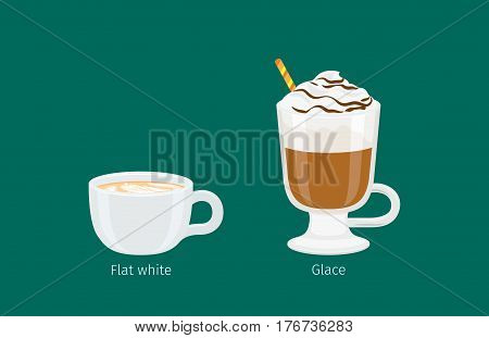Glace and flat white coffee drinks on emerald background. Arabica in glass with foam and straw and Austrian types of coffee in ceramic cup. Minimalist vector illustration for coffee shops and cafes.