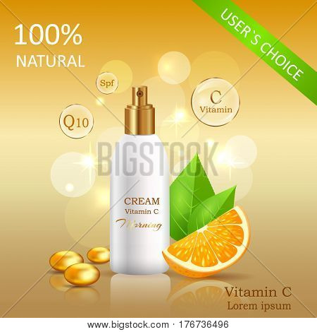 Natural cream with Vitamins users choice. Cream bank beside oranges with leaves on yellow background with text. Advertisement of natural organic cosmetics. Means for skin care vector illustration.