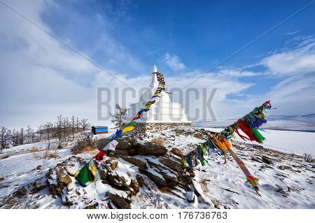 Enlightenment Stupa. Ogoy Island. Lake Baikal