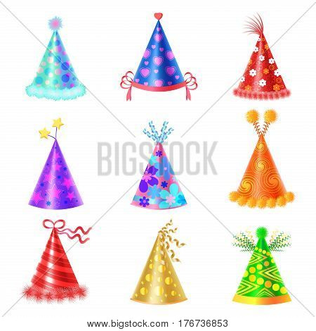 Set of different festive caps in cartoon style on white background. Triangular hood various colors with buboes and stars vector illustration flat design. Accessory for children birthday celebration