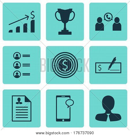 Set Of 9 Hr Icons. Includes Job Applicants, Manager, Successful Investment And Other Symbols. Beautiful Design Elements.