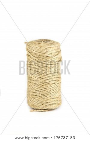 Twine rope isolated on a white background. Close up