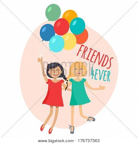 Happy girls with colorful balloons friends forever. Dark-haired girl in red dress and blonde girl in blue dress having fun, smiling and holding air balls. Female friendship vector illustration.