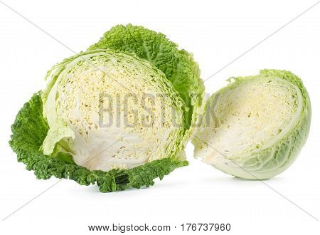Savoy cabbage is in a cut isolated on white background