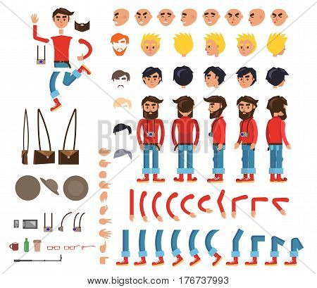 Photographer character flat collection on white. Vector illustration with signs of bended arms and legs, person with camera, emotions on faces, signals on fingers, brown hat and bag in various poses