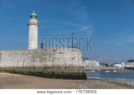 Tour Josephine lighthouse on the jetty in Saint-Gilles Croix de Vie (France)