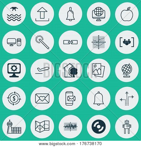 Set Of 25 Universal Editable Icons. Can Be Used For Web, Mobile And App Design. Includes Elements Such As Broken Lines Chart, Handbell, House.