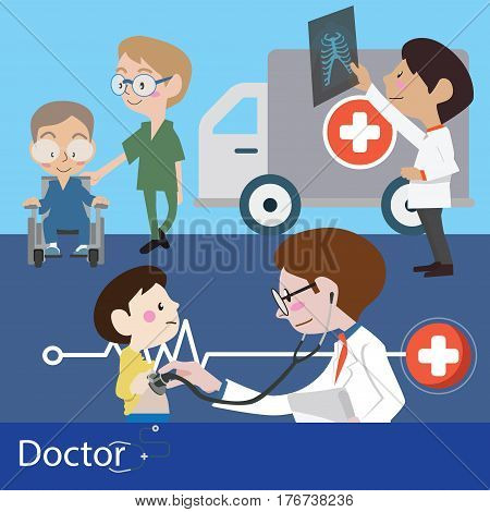 Doctors and staff illustration vector character design