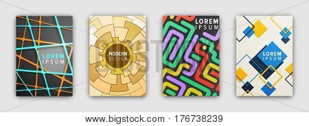 Set of booklets covers with modern abstract design. Brochures sheets with colorful geometric concepts as cobwebs, maze, square frames. Page templates for posters, flyers or presentations illustrating