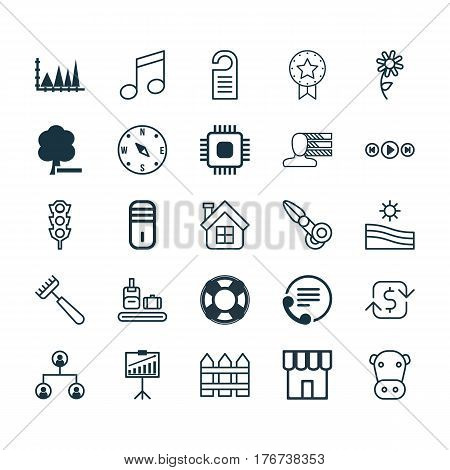 Set Of 25 Universal Editable Icons. Can Be Used For Web, Mobile And App Design. Includes Elements Such As Tree Structure, Meadow, Crotchets And More.
