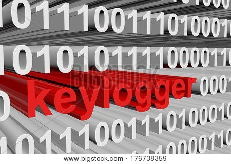 keylogger in the form of binary code, 3D illustration