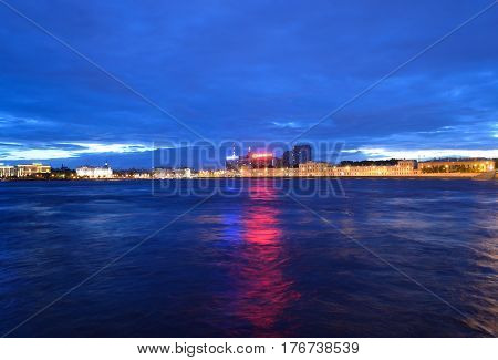 tNeva River and Pirogovskaya Embankment at white night in St.Petersburg Russia.