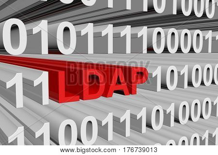 LDAP in the form of binary code, 3D illustration