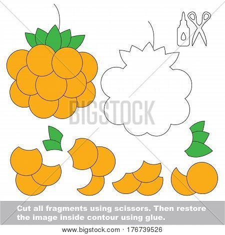 Use scissors and glue and restore the picture inside the contour. Easy educational paper game for kids. Simple kid application with Yellow Cloudberry