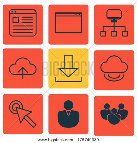 Set Of 9 Web Icons. Includes Local Connection, Data Synchronize, Account And Other Symbols. Beautiful Design Elements.