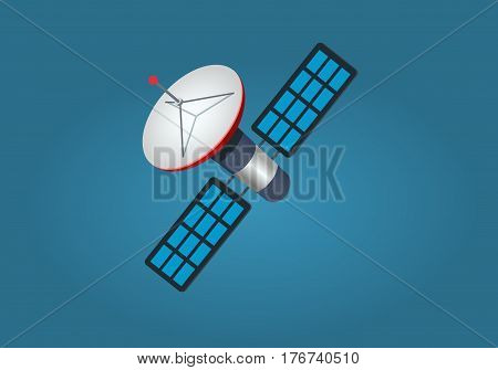 Artificial satellite on blue background. Modern space technologies vector illustration. Space device that provides internet, television and transmission of information. Wireless technology in space.
