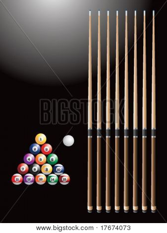 Pool sticks and balls