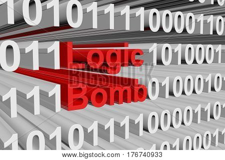 Logic Bomb is presented in the form of binary code 3d illustration