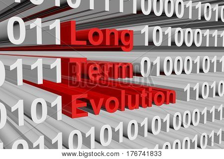 Long Term Evolution is presented in the form of binary code 3d illustration
