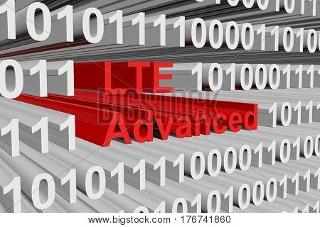 LTE Advanced is presented in the form of binary code 3d illustration