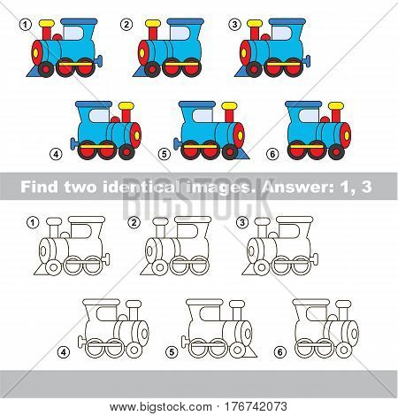 Educational kid matching game to find design difference, the task is to find similar machine. The educational game for kids with easy game level. Compare objects and find two same Locomotives.