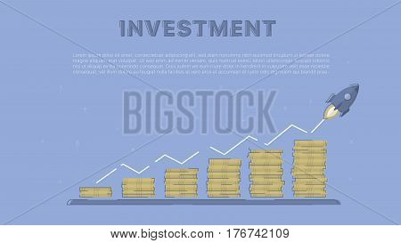 Growing investment with rocket.  Concept business vector for investing into ideas, creative innovative work, growing business. Flat illustration with thin broken line.