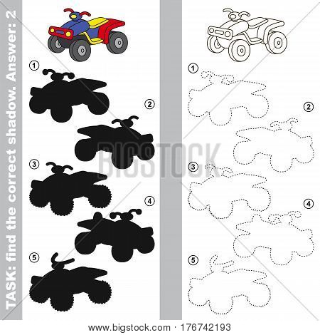Quad bike with different shadows to find the correct one, you need compare and connect object with it true shadow, this is the educational kid game with easy game level. Visual game for preschool children.