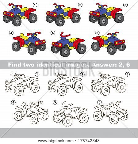 Educational kid matching game to find design difference, the task is to find similar machine. The educational game for kids with easy game level. Compare objects and find two same Quad Bikes.