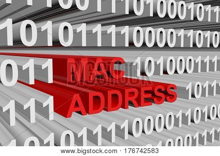 Mac address as a binary code 3D illustration