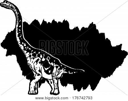 A huge Brontosaurus on a background of a large black spot