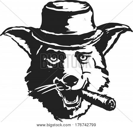 Sly dog smoking a cigar. Illustration in retro style