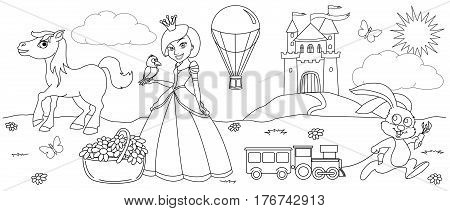 Coloring entitled princess living in a castle and its many friends