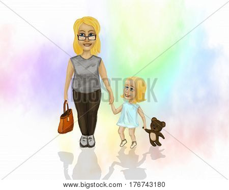 Mama with a small daughter who is holding the hand of a teddy bear.