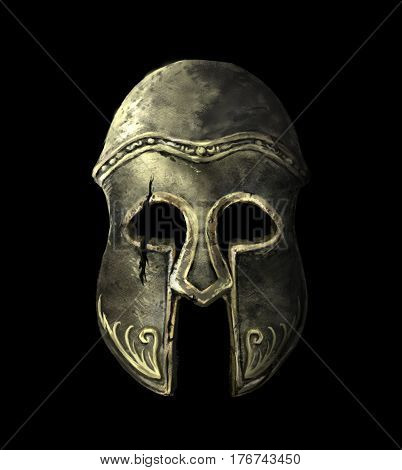 Cracked Ancient Spartan helmet on a black background