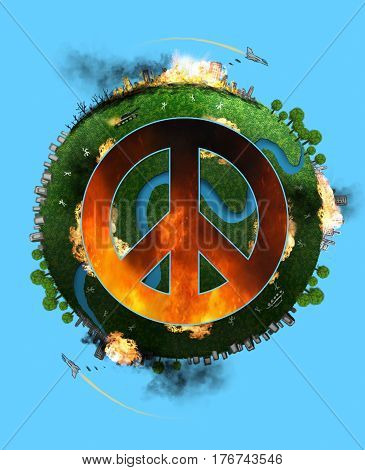 Peace sign on a background of a new world war