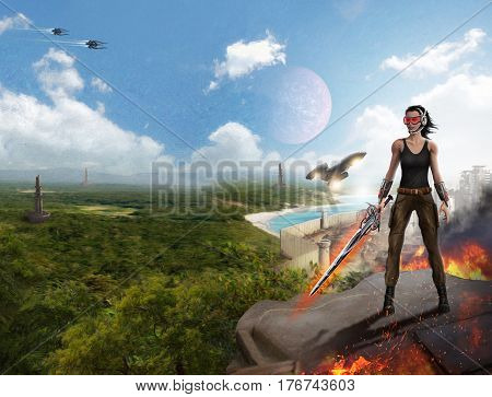 Slim girl warrior on a distant planet hostile