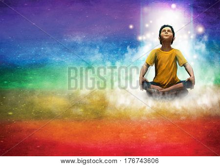 A young boy learns to meditate on a colored background