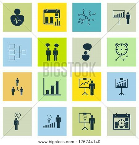 Set Of 16 Executive Icons. Includes Project Presentation, Solution Demonstration, Reminder And Other Symbols. Beautiful Design Elements.