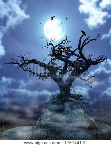 3D illustration of a nightly foggy scene of a spooky mysterious tree standing out against a full moon.