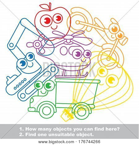 Cute toy transport mishmash set in vector outlined to be colored. Find all hidden objects on the picture. Easy educational kid game. Simple level of difficulty. Visual game for children.